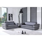 904 - Dark Gray Italian Leather Sofa Love