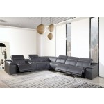 9762 - Dark Grey 3-Power Reclining 7PC Sectional w/ 1-Console